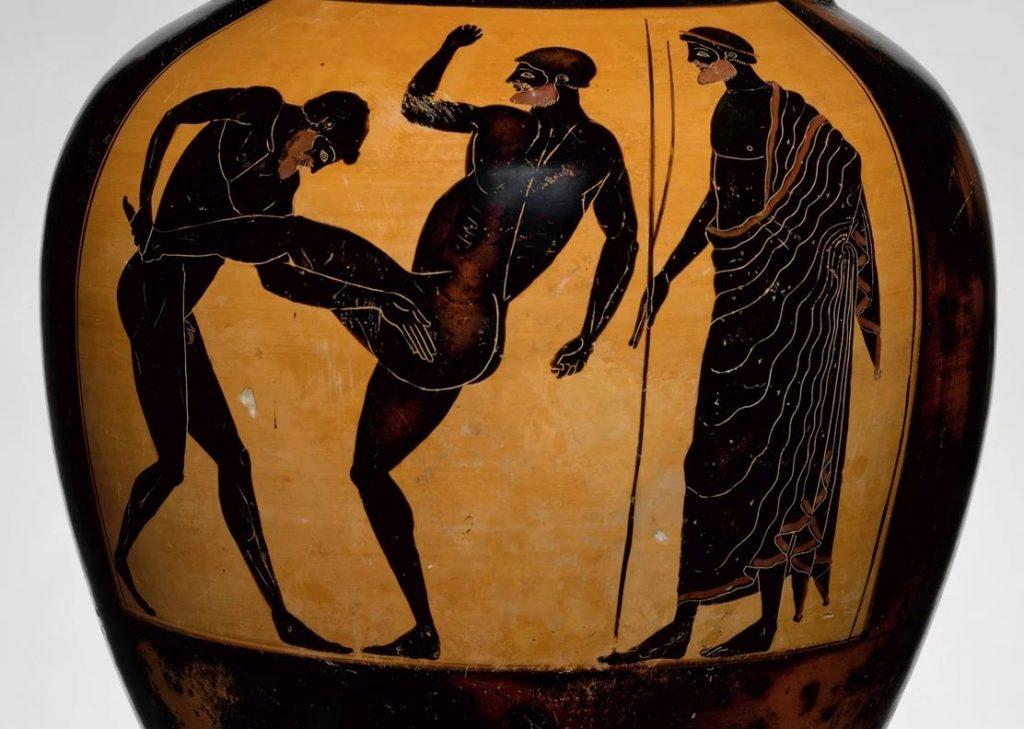 Изображение боёв по панкратиону на античной вазе.